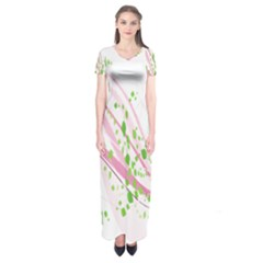Sunflower Flower Floral Leaf Line Wave Chevron Pink Short Sleeve Maxi Dress by Mariart