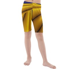 Waves Wave Chevron Gold Blue Paint Space Sky Kids  Mid Length Swim Shorts by Mariart