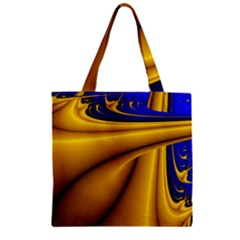 Waves Wave Chevron Gold Blue Paint Space Sky Zipper Grocery Tote Bag