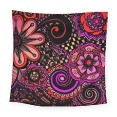 Sunset Floral Square Tapestry (large) by Nexatart