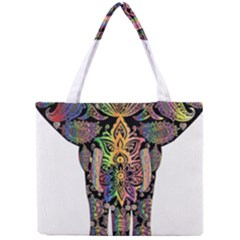 Prismatic Floral Pattern Elephant Mini Tote Bag