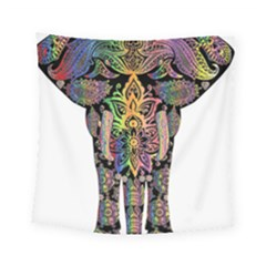 Prismatic Floral Pattern Elephant Square Tapestry (small) by Nexatart