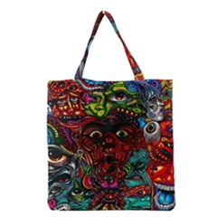 Abstract Psychedelic Face Nightmare Eyes Font Horror Fantasy Artwork Grocery Tote Bag