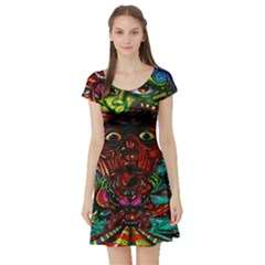 Abstract Psychedelic Face Nightmare Eyes Font Horror Fantasy Artwork Short Sleeve Skater Dress by Nexatart