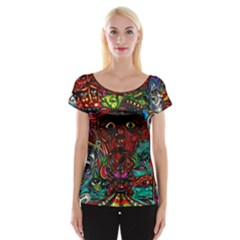 Abstract Psychedelic Face Nightmare Eyes Font Horror Fantasy Artwork Women s Cap Sleeve Top by Nexatart