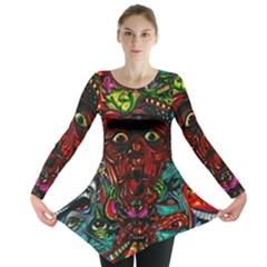 Abstract Psychedelic Face Nightmare Eyes Font Horror Fantasy Artwork Long Sleeve Tunic