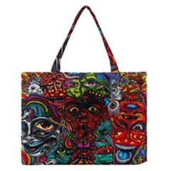 Abstract Psychedelic Face Nightmare Eyes Font Horror Fantasy Artwork Medium Zipper Tote Bag by Nexatart