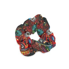 Abstract Psychedelic Face Nightmare Eyes Font Horror Fantasy Artwork Velvet Scrunchie