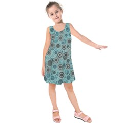 Abstract Aquatic Dream Kids  Sleeveless Dress by Ivana