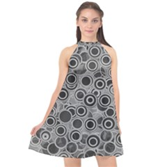 Abstract Grey End Of Day Halter Neckline Chiffon Dress  by Ivana