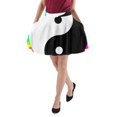 Rainbow Around Yinyang A Line Pocket Skirt by Nexatart