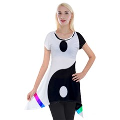 Rainbow Around Yinyang Short Sleeve Side Drop Tunic