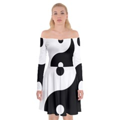 Rainbow Around Yinyang Off Shoulder Skater Dress