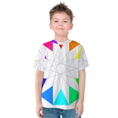 Rainbow Dodecagon And Black Dodecagram Kids  Cotton Tee