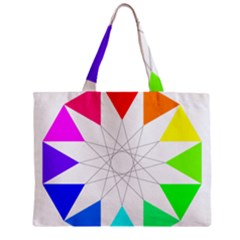 Rainbow Dodecagon And Black Dodecagram Zipper Mini Tote Bag by Nexatart