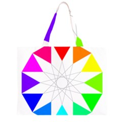 Rainbow Dodecagon And Black Dodecagram Zipper Large Tote Bag