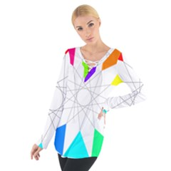 Rainbow Dodecagon And Black Dodecagram Women s Tie Up Tee