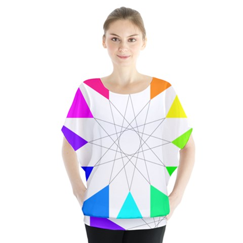 Rainbow Dodecagon And Black Dodecagram Blouse by Nexatart