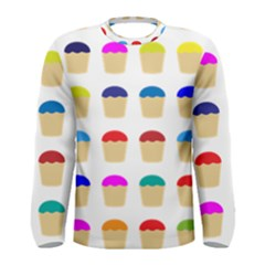Colorful Cupcakes Pattern Men s Long Sleeve Tee