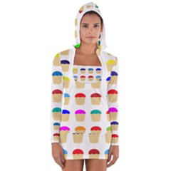 Colorful Cupcakes Pattern Women s Long Sleeve Hooded T Shirt