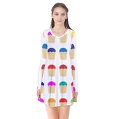 Colorful Cupcakes Pattern Flare Dress by Nexatart
