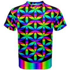 Rainbow Flower Of Life In Black Circle Men s Cotton Tee