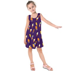 Seamless Ice Cream Pattern Kids  Sleeveless Dress