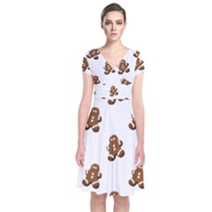 Gingerbread Seamless Pattern Short Sleeve Front Wrap Dress