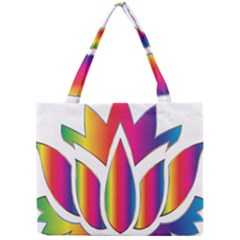 Rainbow Lotus Flower Silhouette Mini Tote Bag by Nexatart