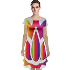 Rainbow Lotus Flower Silhouette Cap Sleeve Nightdress