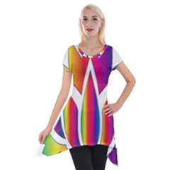 Rainbow Lotus Flower Silhouette Short Sleeve Side Drop Tunic by Nexatart
