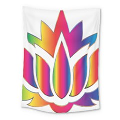 Rainbow Lotus Flower Silhouette Medium Tapestry