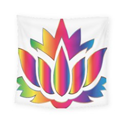 Rainbow Lotus Flower Silhouette Square Tapestry (small) by Nexatart
