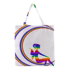 Rainbow Fairy Relaxing On The Rainbow Crescent Moon Grocery Tote Bag