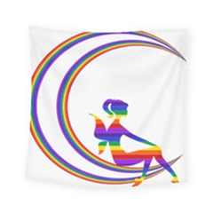 Rainbow Fairy Relaxing On The Rainbow Crescent Moon Square Tapestry (small) by Nexatart