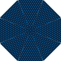 Blue Dark Navy Cobalt Royal Tardis Honeycomb Hexagon Hook Handle Umbrellas (small) by Mariart