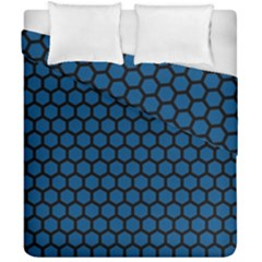 Blue Dark Navy Cobalt Royal Tardis Honeycomb Hexagon Duvet Cover Double Side (california King Size) by Mariart