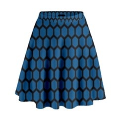 Blue Dark Navy Cobalt Royal Tardis Honeycomb Hexagon High Waist Skirt by Mariart