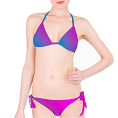 With Wireframe Terrain Modeling Fabric Wave Chevron Waves Pink Blue Bikini Set by Mariart