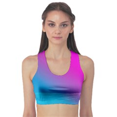 With Wireframe Terrain Modeling Fabric Wave Chevron Waves Pink Blue Sports Bra by Mariart