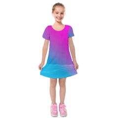 With Wireframe Terrain Modeling Fabric Wave Chevron Waves Pink Blue Kids  Short Sleeve Velvet Dress by Mariart