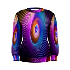 Abstract Fractal Bright Hole Wave Chevron Gold Purple Blue Green Women s Sweatshirt by Mariart