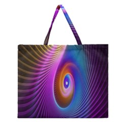 Abstract Fractal Bright Hole Wave Chevron Gold Purple Blue Green Zipper Large Tote Bag