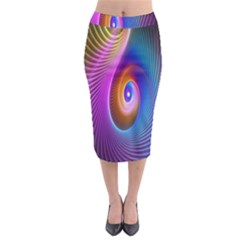 Abstract Fractal Bright Hole Wave Chevron Gold Purple Blue Green Midi Pencil Skirt