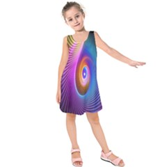 Abstract Fractal Bright Hole Wave Chevron Gold Purple Blue Green Kids  Sleeveless Dress by Mariart