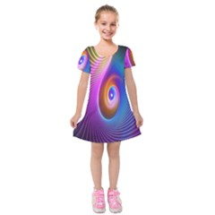Abstract Fractal Bright Hole Wave Chevron Gold Purple Blue Green Kids  Short Sleeve Velvet Dress