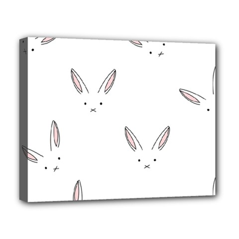 Bunny Line Rabbit Face Animals White Pink Deluxe Canvas 20  X 16   by Mariart
