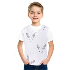 Bunny Line Rabbit Face Animals White Pink Kids  Sportswear by Mariart