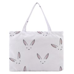 Bunny Line Rabbit Face Animals White Pink Medium Zipper Tote Bag by Mariart