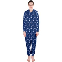 Blue White Anchor Hooded Jumpsuit (ladies)